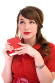 Girl in red dress and her diary — Stock Photo