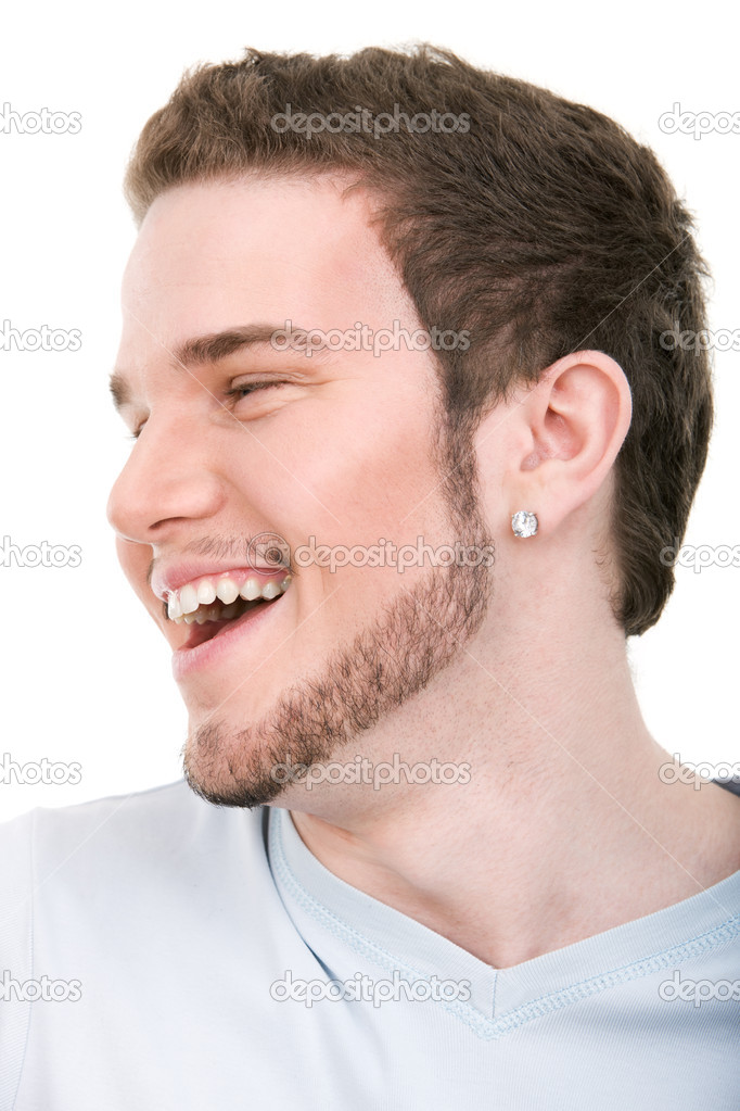 Smiling face of young handsome man on isolated white background — Stock Photo #19269595