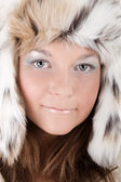 Woman in a winter hat — Stockfoto