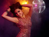 Portrait of dancing girl on disco party — Stock Photo
