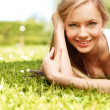 Girl in a grass (medium format image) — Stock Photo