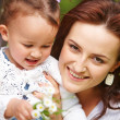 Foto Stock: Happy mother and child