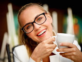 Woman on coffee break — Stock Photo
