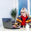 Young business woman using laptop at work desk — Stock Photo