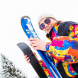 Young Woman holding Skis  — Stock Photo