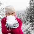 Little girl spenting a nice time in snowy forest — Stock Photo #20565617