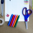 Selection of various individual school supplies — Stock Photo