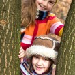 Two little sister girls hug playing in the forest — Stock Photo #40039173