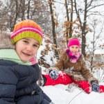 Two little girls having fun in winter — Stock Photo #40040211