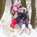 Two little girls having fun in winter — Stock Photo #40040503