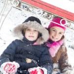 Two little girls having fun in winter — Stock Photo #40041007