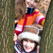 Two little sister girls hug playing in the forest — Stock Photo #40179285