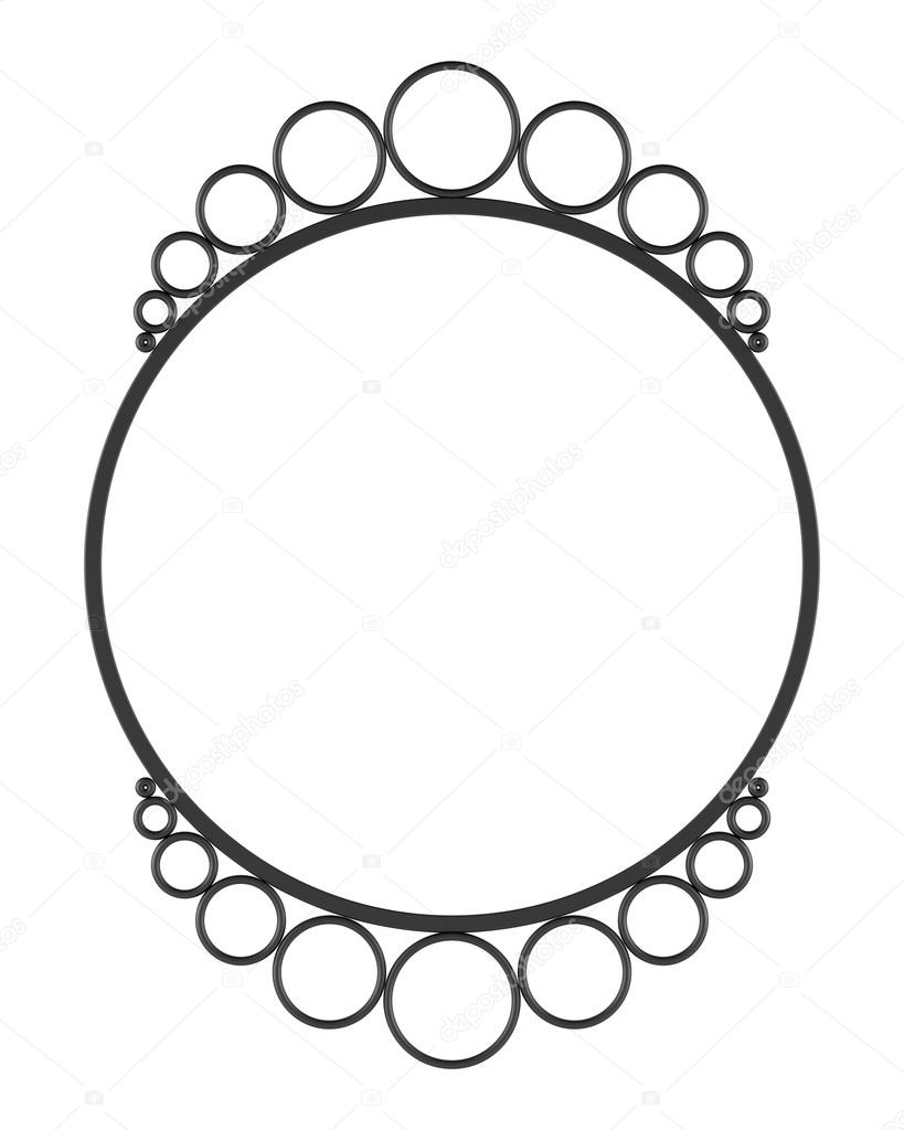 Round blank wall mirror frame isolated on white background  Stock Photo #12553955