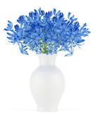 Blue flowers in vase isolated on white background — Stock Photo
