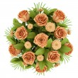 Top view bouquet of orange roses isolated on white background - Stock Photo