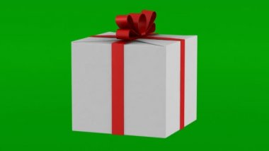 White gift box with red ribbon and bow loop rotate on green chromakey background — Stock Video