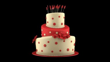 Big round red and yellow cake loop rotate on black background — Stock Video