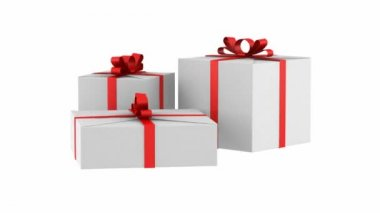 Three white gift boxes with red ribbon and bow loop rotate on white background — Stock Video
