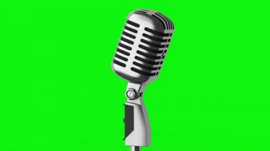 Vintage microphone loop rotate on green chromakey background — Stock Video