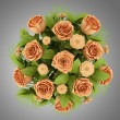 Top view bouquet of orange roses isolated on gray background — Stock Photo