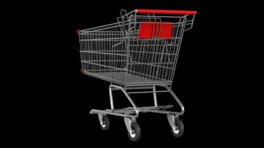 Empty shopping cart loop rotate on black background — Stock Video