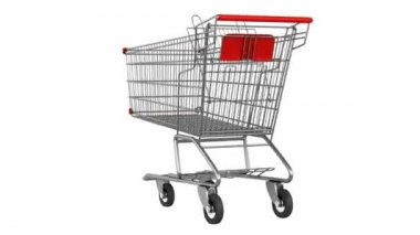 Empty shopping cart loop rotate on white background — Stock Video