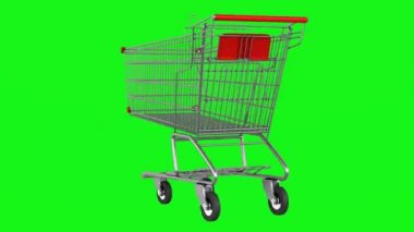 Empty shopping cart loop rotate on green chromakey background — Stock Video