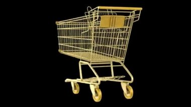 Empty golden shopping cart loop rotate on black background — Stock Video