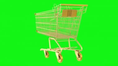 Empty golden shopping cart loop rotate on green chromakey background — Stock Video