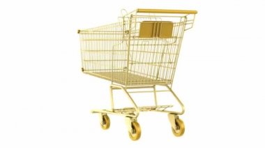 Empty golden shopping cart loop rotate on white background — Stock Video