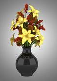 Bouquet of flowers in vase isolated on gray background — Stock Photo
