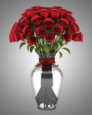 Bouquet of red roses in vase isolated on gray background — Stock Photo