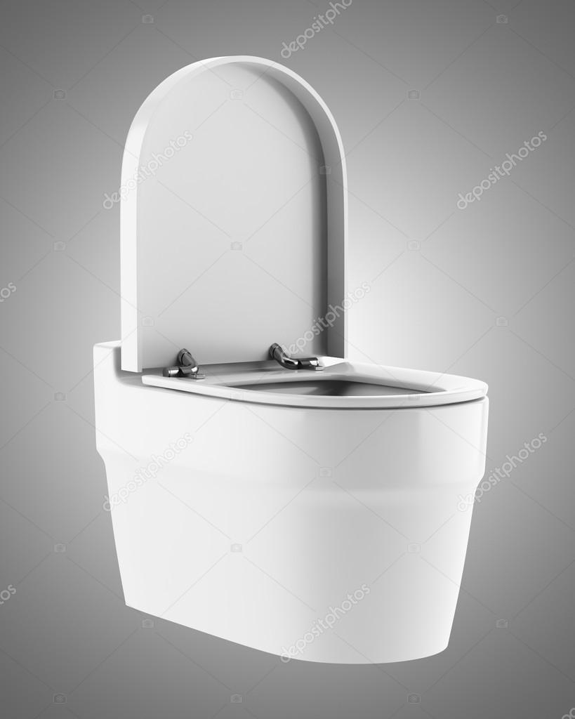 Bol de toilette moderne unique isol sur fond gris photographie tiler84 - Photo de toilette moderne ...