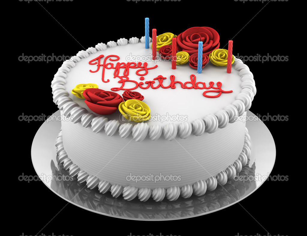 Round Birthday Cake With Candles Isolated On Black