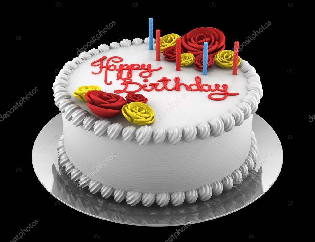 Candles On A Round Birthday Cake