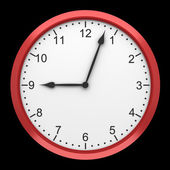 Red round wall clock isolated on black background — Stock Photo