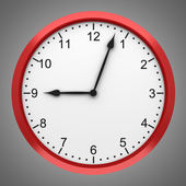 Red round wall clock isolated on gray background — Stock Photo
