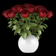 Stock Photo: Bouquet of red roses in vase isolated on black background
