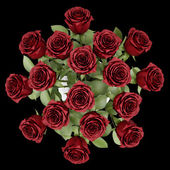 Top view bouquet of red roses in vase isolated on black backgrou — Stock Photo
