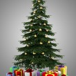Stock Photo: Christmas tree with color gift boxes isolated on gray background