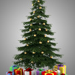 Christmas tree with color gift boxes isolated on gray background — Stock Photo