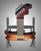 Top view of electric guitar on stand isolated on gray background — Stock Photo