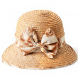 Stock Photo: Female summer straw hat with bow isolated on white background