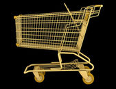 Golden empty shopping cart isolated on black background — Stock Photo