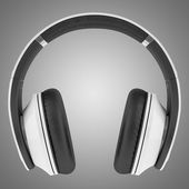 White and black wireless headphones isolated on gray background — Stock Photo