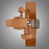 Top view of brown violin isolated on gray background — Stock Photo
