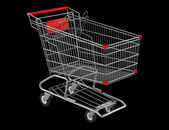 Empty shopping cart isolated on black background — Stock Photo