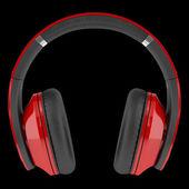 Röda och svarta trådlösa hörlurar isolerad på svart bakgrund — Stockfoto