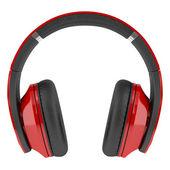 Röda och svarta trådlösa hörlurar isolerad på vit bakgrund — Stockfoto
