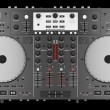 Top view of dj mixer controller isolated on black background — Stock Photo
